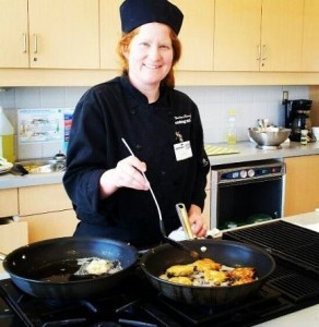 Elaine at work in the PC Cooking School