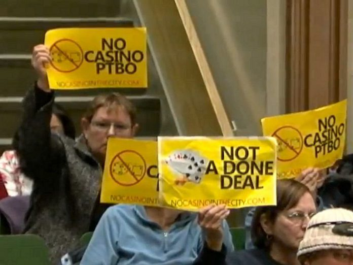 Most people attending the March 18th Peterborough City Council meeting were against the idea of a casino in the city (photo: still from CHEX Newswatch coverage)