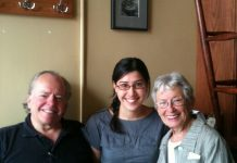 Event hosts Dr. Tom Phillips and Erica Cherney (right) with Shannon Mak of Le Petit Bar (photo: Carol Lawless)