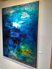 The unique process and abstract nature of Janet's paintings reveal the themes of cloud and water quite clearly sometimes