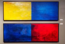 """Though not conceived of as a pair, Janet Read's """"Morning and Evening"""" and """"Reading the Wave 3"""" hang together quite nicely as a quadriptych"""