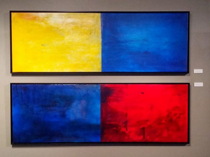 "Though not conceived of as a pair, Janet Read's ""Morning and Evening"" and ""Reading the Wave 3"" hang together quite nicely as a quadriptych"