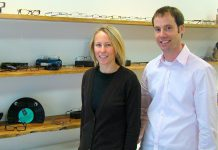 Shane and Amanda Palmer, owners of Green Eyewear Optical and early members of of the Green Business Peterborough program, have taken many steps to ensure their business is as eco-friendly as possible (photo: Matt Higgs)