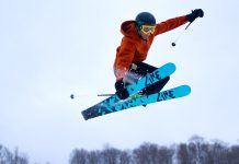 A skier catches some air at Sir Sam's Ski & Bike in Haliburton