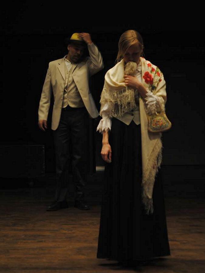 """Beau Dixon and Lisa Hamalainen perform in Hamalainen's stage adaption of Chekhov's """"Lady with a Lap Dog"""" (photo: Spiel Players)"""