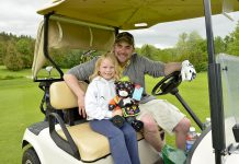Georgia Whyte, a neuroblastoma survivor, with her uncle Shawn are regular faces at The Nexicom James Fund Golf Classic, which honours the families who are living with neuroblastoma and raises money to help them through hardship (photo: Nicole Zinn, Glimpse Imaging)