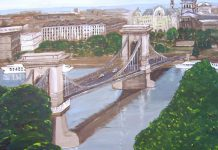 """Budapest Chain Bridge"". The level of mastery in conveying perspective Dianne Latchford has already reached is striking. See her exhibit at Black Honey in Peterborough from May 12 - June 30."