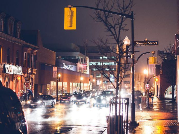 The corner of Simcoe and Water St. in downtown Peterborough (photo: Pat Trudeau, trudeauphotography.ca)