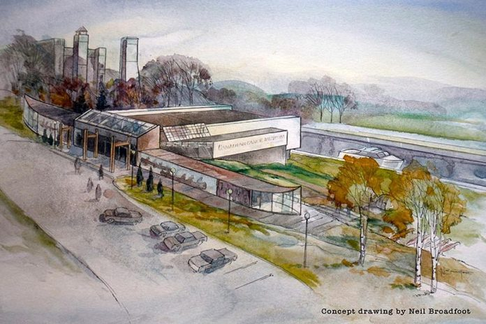Concept drawing of the proposed relocation of the Canadian Canoe Museum to Parks Canada property at the Peterborough Lift (drawing: Neil Broadfoot)