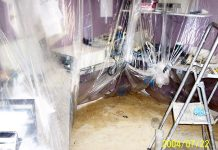 Kruz FM's newsroom a week after the 2004 Peterborough flood (photo: Brian Ellis)