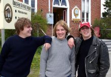 """Liam, Mike, and Jesse """"Peck"""" Archer at the 2006 Churchkey Spring Revival, where their band Scrap Metal played"""