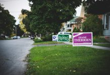 "Municipal election candidate signs are populating Peterborough neighbourhood lawns. Pat is disturbed by the divisive ""-isms"" he's seeing from various quarters during the election campaign. (Photo: Pat Trudeau)."