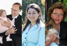 """As of September 9, five people have declared their candidacy for the job of Peterborough's mayor. Pictured are incumbent Darryl Bennett, community organizer Maryam Monsef, and former city councillor Patti Peeters; Not pictured are transit advocate Tom Young and George """"Terry"""" Leblanc. (Photos from candidate websites and Facebook)."""