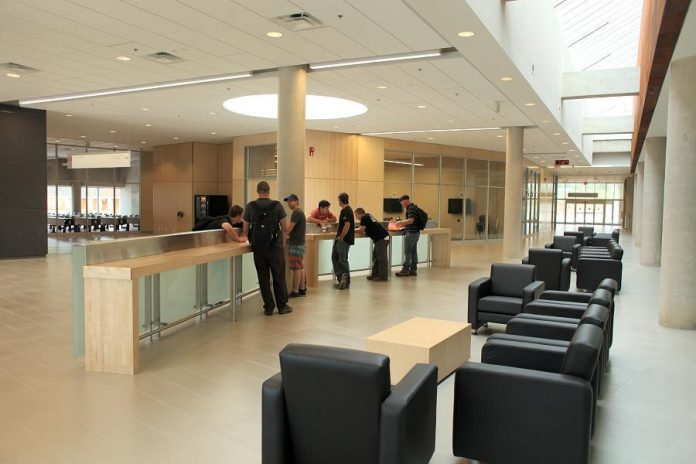 The $36.6 million 87000-square-foot Kawartha Trades and Technology Centre at Fleming College's Sutherland Campus on Brealey Drive in Peterborough opened in September 2014. Nic Cunningham feels that by focussing on skilled trades, Peterborough can produce a pool of skilled people that will attract organizations and companies that pay good wages. (Photo courtesy of Fleming College).