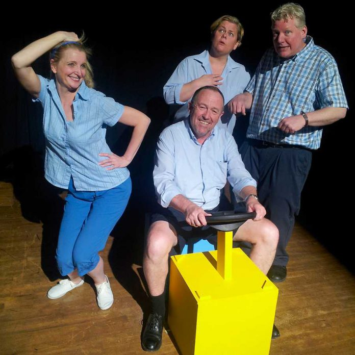 "Anna Black, Mark Whelan, Sarah Quick and James Barrett as four of the nearly 30 different characters they portray in the Globus Theatre production ""Sunshine Express"", playing until November 15th at Lakeview Arts Barn in Bobcaygeon (photo: Sam Tweedle)"