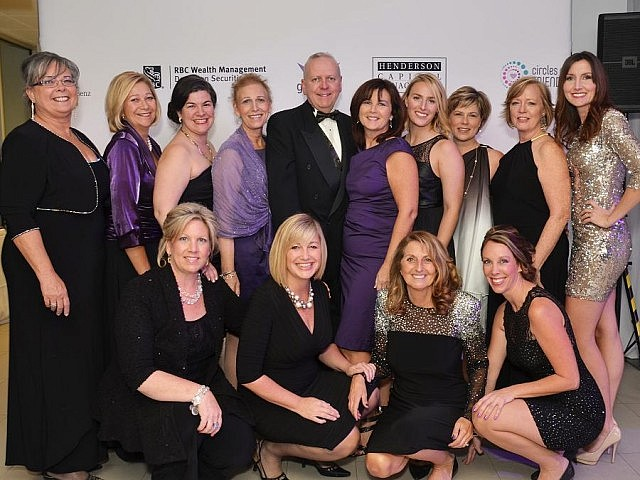 The organizing committee for the Circles of Friends' Glass Gala (bottom left to right: Jane Ulrich, Dana Merrett, Phoebe Turk, Lyndsey Fullman; top left to right: Anita Record, Carol Corner, Emma Cox, Monique Cantin, Steve Henderson, Maureen Henderson, Genevieve Cantin, Mary Blair, Kim Garland, Erin Marshall; absent from photo: Roula Kovios)