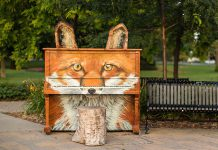 Foxgang Amadeus, designed and painted by Cobourg artist Katriona Dean, is #1 on Bored Panda's list of most beautiful outdoor pianos in the world (photo: Katriona Dean)