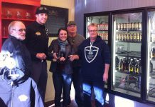Publican House Partners Marty Laskaris, Matt Philips, Mike Laskaris, and Rick Coit in the brewery's new craft beer retail store, along with City of Peterborough Town Ward Councillor Diane Therrien. The store will have its official opening on Saturday, January 31st (photo courtesy of Publican House Brewery)