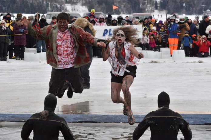 """The theme of the 2015 BEL Rotary 35th Annual Polar Plunge, held on Feburary 1st at Chemong Lake in Ennismore, was """"Zombies and Survivors"""" (photo: carrie Copeland)"""