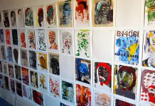 Brian Nichols' silk-screened faces are on display at Peterborough's Gallery in the Attic during the month of March