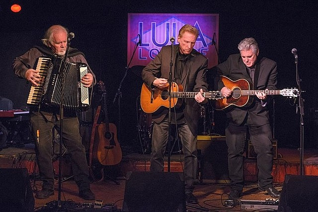 The Russell deCarle Trio (Denis Keldie, Russell deCarle, and Steve Briggs) performing at the Lula Lounge in Toronto in 2014 (photo: Jerry Abramowicz)