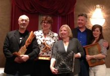 "Members of the Peterborough Theatre Guild with their awards from the Eastern Ontario Drama League, which included ""Acting Excellence"", ""Best Visual Presentation"", ""Best Actress in a Leading Role"", and the top prize of ""Best Production"" (photo courtesy of Peterborough Theatre Guild)"