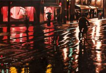 Rob Niezen is one of the featured artists at The Bike Art Show at The Gallery in the Attic from June 1st to 27th. The evocative nature of Niezen's gleaming oil paintings of rain-drenched urban night scenes have an enduring appeal for good reason (photo courtesy of Gallery in the Attic)