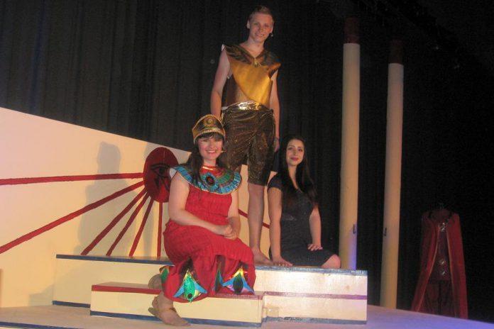"Marina Zielke as Amnaris, Cameron Von Criegern as Radames, and Hope Clarkin as Aida in Thomas A. Stewart Secondary School's Musical Theatre Class production of ""Aida"" (photo: Sam Tweedle / kawarthaNOW)"