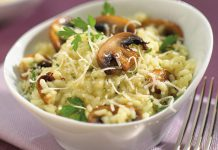 This mushroom risotto is made with short-grain Aroborio rice, but you can make a healthier version by substituting quinoa