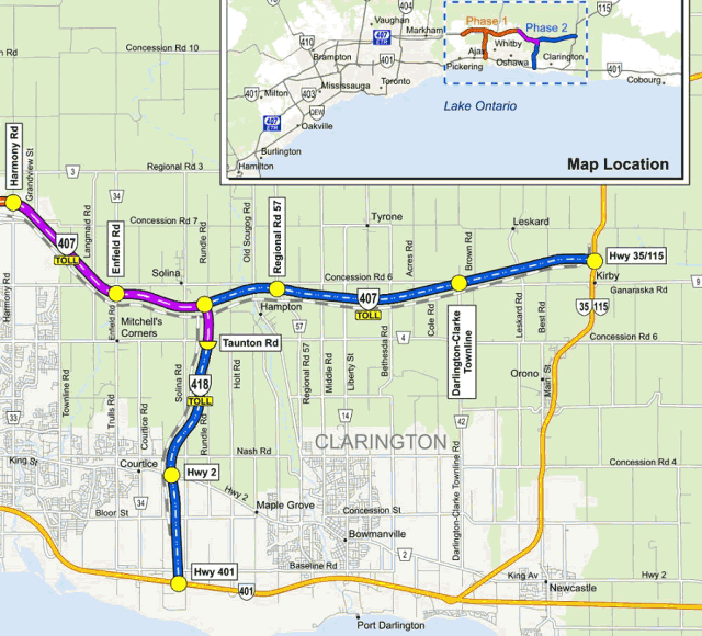 Phase 2 of the Highway 407 East project (map courtesy of Blackbird Infrastructure Group)