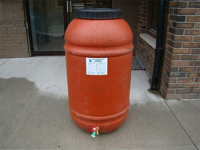 Rain barrels and rain barrel stands are available from the GreenUP Store. Peterborough Utilities customers who purchase rain barrels purchased from the GreenUP Store are eligible for a $25 discount. (Photo: Peterborough GreenUP)