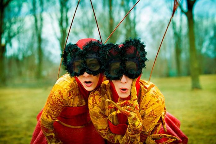 """Photuris Versicolor"", featuring Sylvie Bouchard and Marie-Josée Chartier as twin fireflies separated at birth, is one of four performances at this year's Dusk Dances taking place at Rotary Park in Peterborough from July 23 to 26 (photo: John Lauener)"