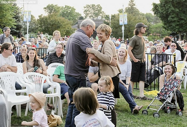Melissa's family, including her parents (pictured dancing here), were at the concert at Del Crary Park (photo: Linda McIlwain / kawarthaNOW)