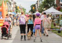 Some of the estimated 4,000 people who enjoyed car-free streets in downtown Peterborough during Peterborough Pulse, the city's first open streets event on July 18 (photo: Linda McIlwain / kawarthaNOW)