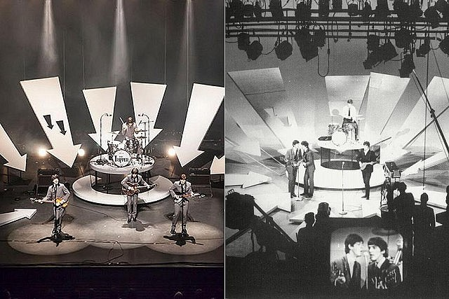 Day Tripper (left) plays music from throughout The Beatles' career, including early performances like the Fab Four's first appearance on The Ed Sullivan Show in 1964 (right)