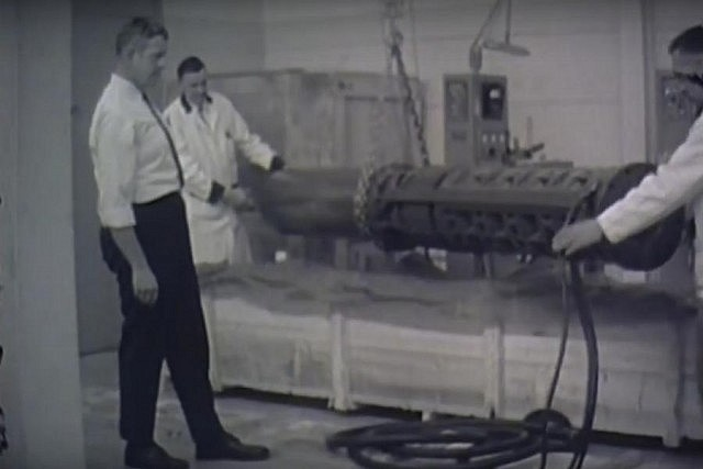 The core of the fountain was a 3,200-pound pump that was over 12 feet long and 15 inches in diameter