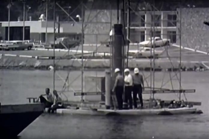 The Peterborough Chamber of Commerce has digitized an old 16-mm documentary that describes the building of the Centennial fountain, seen here being towed to its final location in Little Lake