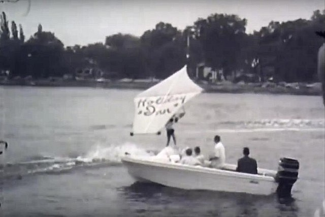 The launch ceremony included a demonstration by the Peterborough Waterski Club (note the old Holiday Inn logo)