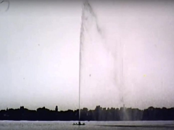 The first day of operation of the fountain. Forty-eight years later, the fountain is now a familiar sight on Peterborough's Little Lake