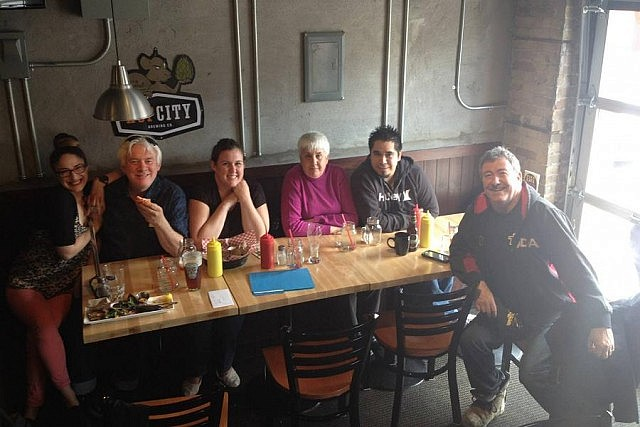 Showplace staff fueling up at the Brickhouse Grill & Bar on Water Street: Kait Dueck, Ray Marshall, Emily Martin, Peggy Milton, Rael Corkery, and John Milton (photo: a lovely Brickhouse server)