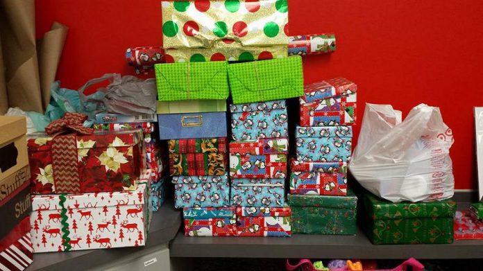 Donations to the Peterborough Shoebox Project (photo: Vanessa Dinesen)