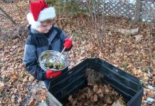 Abner Jarvis helps reduce waste in his home by composting all year long. The varying temperatures that are typical this time of year assist your compost pile to break down, and will do so all winter long. (Photo: Karen Halley, GreenUP)