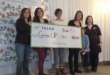 "ELUS presents GreenUP with a $10,000 donation, after a week of successfully meeting targets of a social media campaign aimed at attaining over 2,000 ""likes"" on a promotional Facebook posting"