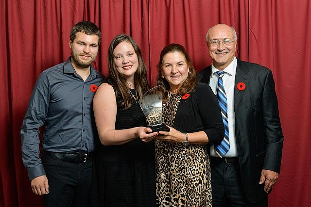 Kawartha Country Wines Assistant Vintner Brad Vandermeulen, Manager Eva Fisher, and owners Trish Dougherty and John Rufa celebrate their Retailer of the Year win (photo: Eva Fisher)