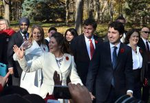 Peterborough-Kawartha MP Maryam Monsef (centre back) as she accompanies Prime Minister Justin Trudeau and other MPs to swearing-in ceremony at Rideau Hall in Ottawa on November 4. Monsef was appointed to the position of Minister of Democratic Institutions and, at the age of 30, is the second-youngest cabinet minister ever. (Photo: Steve Boyton for kawarthaNOW)