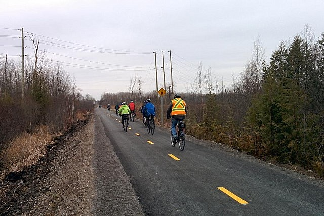 After the opening, a group of cyclists led by Susan Sauve headed out on the trail for a 20-kilometre ride