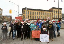 The Grade 7/8 class from Immaculate Conception Catholic Elementary School gathered at the corner of George and Simcoe in downtown Peterborough