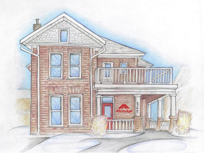 A sketch of MicroAge Peterborough's new location at 267 Stewart Street