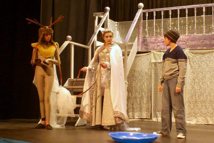 "Irelande Farrell stars in the title role in the Peterborough Theatre Guild's family production of ""The Snow Queen"". Also pictured are Ali Jones as Cari and Sam Weatherdon as Kai."