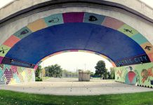 The City of Peterborough's Public Art Program and the Downtown Business Improvement Area want to bring public art to downtown Peterborough, similar to this mural by Kirsten McCrea under the Hunter Street Bridge funded by the Public Art Program (photo courtesy of Artspace)